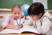 Happy schoolgirls doing classwork — Stock Photo