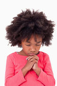 Portrait of a girl praying — Stock Photo