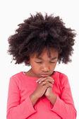 Portrait of a girl praying — Stock Photo