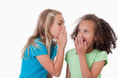 Cute girl whispering a secret to her friend — Stock Photo