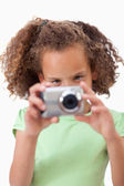 Portrait of a girl taking a picture — Stock Photo