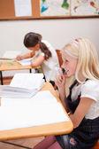 Portrait of pupils doing classwork — Stock Photo