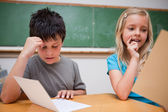 Two children reading — Stock Photo