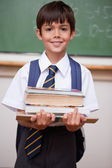 Portrait of a schoolboy holding books — Stock Photo