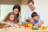 Family slicing ingredients — Stock Photo
