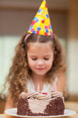 Slice of cake about to be eaten by girl — Stock Photo