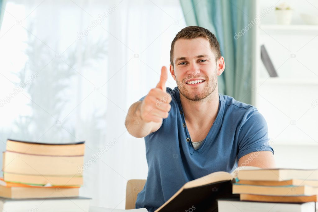 Male student is well prepared for his exam — Stock Photo #11201857