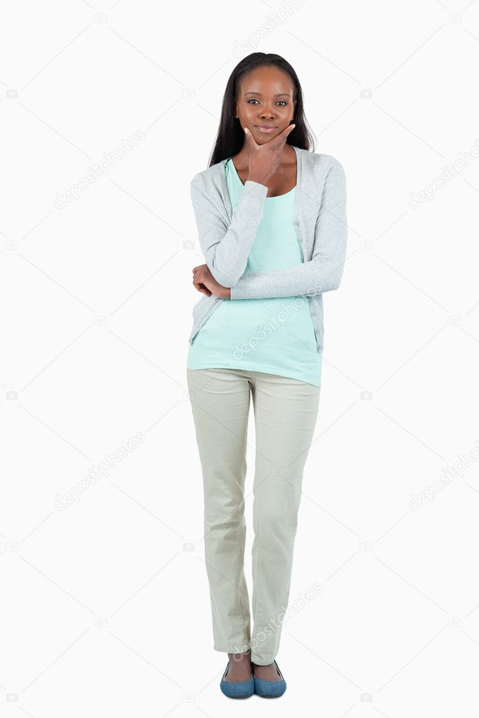 Young woman considering against a white background — Stock Photo #11201974