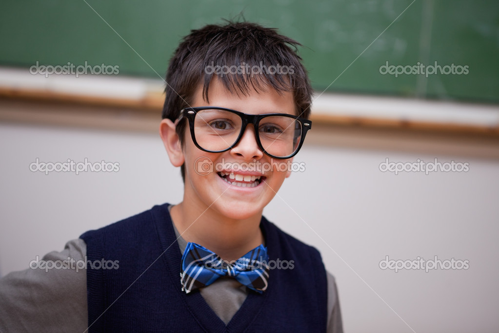Happy schoolboy posing in a classroom  Stock Photo #11209495