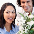 Woman holding the bouquet she got from her boyfriend — Stock Photo