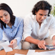 Stock Photo: Couple having a hard time doing their finances
