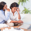 Frustrated couple underestimated their expenses — Stock Photo #11210064