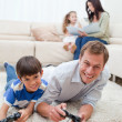 Stock Photo: Family enjoys spending their spare time together