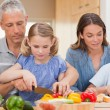Charming family cooking together — Stock Photo