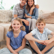 Portrait of a happy family posing - Stok fotoğraf