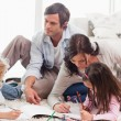 Stock Photo: Family drawing together