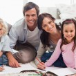 Charming family drawing together — Stock Photo #11210787