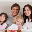 Family having breakfast together — Stock Photo
