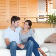 Portrait of a couple sitting on a sofa — Foto Stock