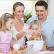 Family making dough — Stock Photo