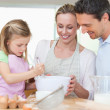 Family making cookies — Stock Photo