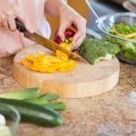 Woman preparing healthy salad — Stock Photo #11211797