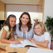 Stock Photo: Siblings getting help with homework from mother