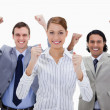 Stock Photo: Businessteam with arms raised