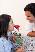 Female got a rose from her boyfriend for valentines day — Stock Photo