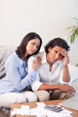 Couple frustrated over their financial situation — Stock Photo
