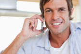 Close up of a man making a phone call — Stock Photo