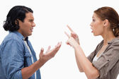 Side view of arguing couple — Stock Photo
