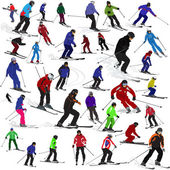 Set of skiers — Vettoriale Stock
