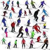 Uppsättning av skidåkare — Stockvektor