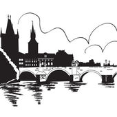 Charles Bridge and Vltava river — Stock Vector