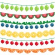 Berries and fruits garland set — Stock Vector