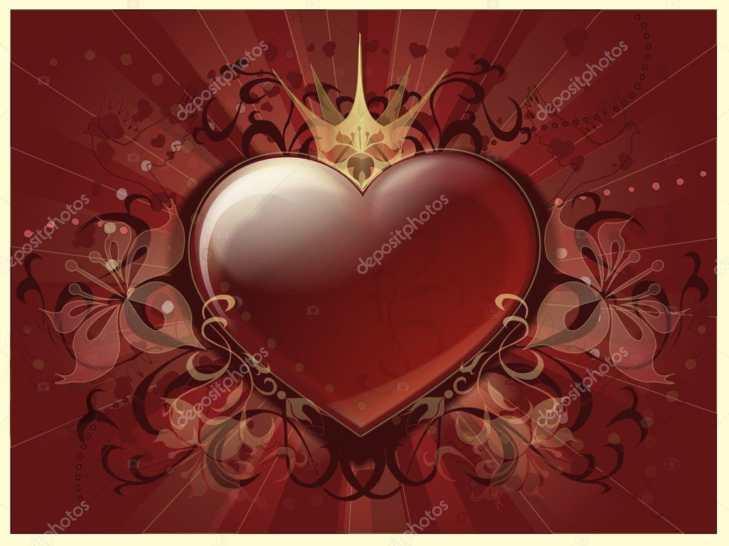 Big red heart with flowers of vanilla and a crown — Stock Photo #11531052