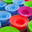 Background of plastic basins — Stock Photo