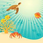 Sunny underwater life — Stock Vector