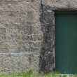 Stock Photo: Green Door and Cracked Wall