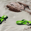 Flip Flops on the Beach - Stock Photo