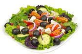 サラダ、オリーブ、バジル、タマネギ、トマトとモッツァレラチーズ — ストック写真