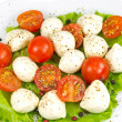 Stock Photo: Mozzarella, tomato, pepper and salad