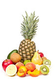 Ananas, apple, pear, peach, kiwi, lemon, avocado — Stock Photo