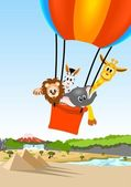 African animals in hot air balloon — Stock Vector