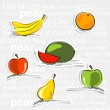 Simply fruit stickers — Stock Vector