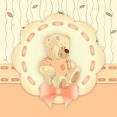 Decorative birthday invitation with cute brown teddy — Stock Photo