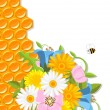 Vector de stock : Flowers and honeycomb