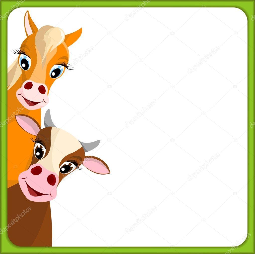 Carino mucca e cavallo nella cornice verde — vettoriali