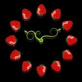 Strawberry clock — Stockvektor